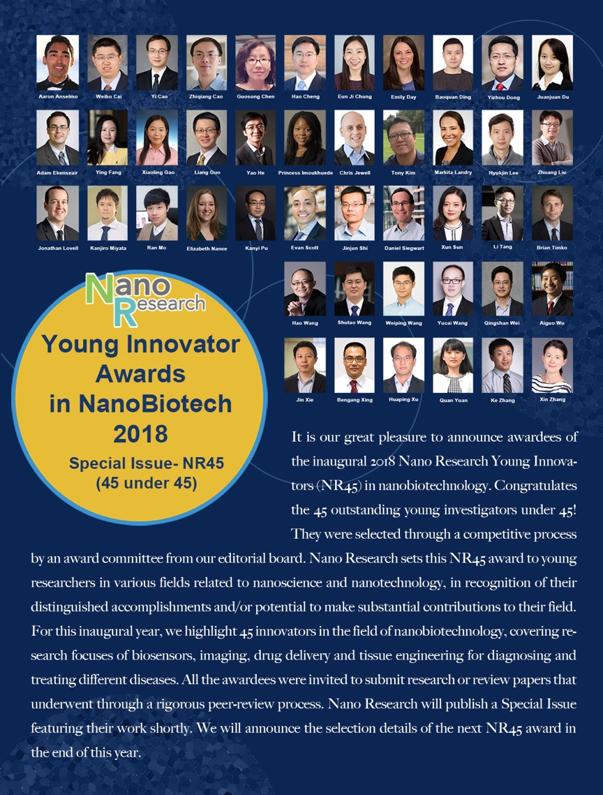 Prof. Xu received Nano Research Young Innovator Awards in NanoBiotech 2018. Congratulations!